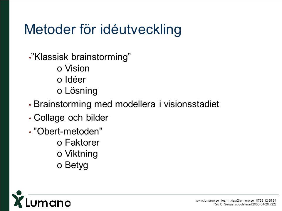 """www.lumano.se - jeanin.day@lumano.se - 0733-12 55 54 Rev C. Senast uppdaterad 2005-04-26 (22) Metoder för idéutveckling • """"Klassisk brainstorming"""" o V"""