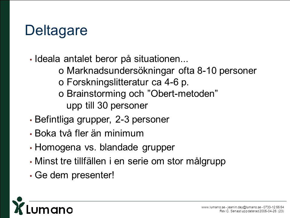 www.lumano.se - jeanin.day@lumano.se - 0733-12 55 54 Rev C. Senast uppdaterad 2005-04-26 (23) Deltagare • Ideala antalet beror på situationen... o Mar