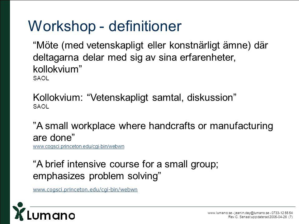 """www.lumano.se - jeanin.day@lumano.se - 0733-12 55 54 Rev C. Senast uppdaterad 2005-04-26 (7) Workshop - definitioner """"Möte (med vetenskapligt eller ko"""