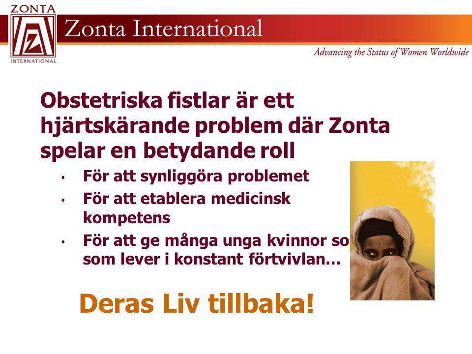 Obstetriska fistlar är ett hjärtskärande problem där Zonta spelar en betydande roll • För att synliggöra problemet • För att etablera medicinsk kompet