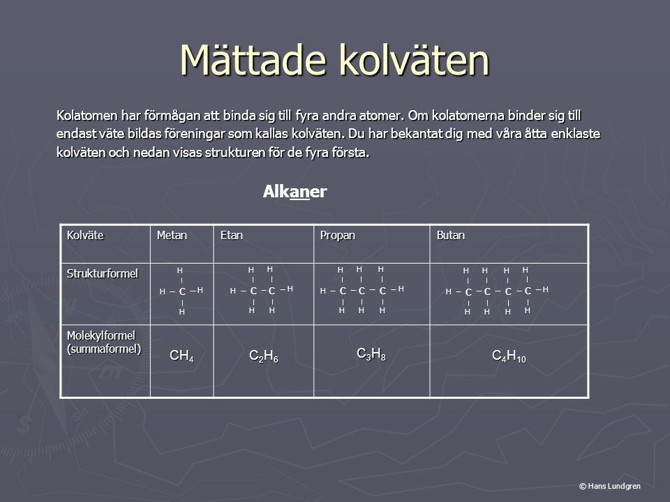 Mättade kolväten Kolatomen har förmågan att binda sig till fyra andra atomer. Om kolatomerna binder sig till endast väte bildas föreningar som kallas