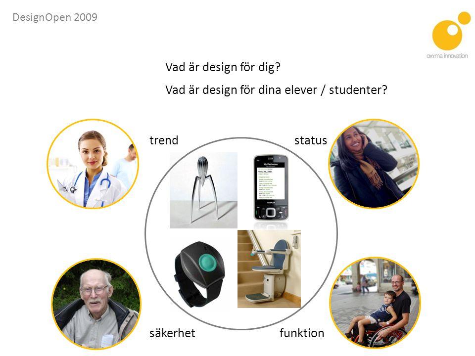 DesignOpen 2009 IndustridesignMemphisgruppen Design kommer från latin, designo (peka ut, bestämma, framställa) Bild: Ergonomidesign