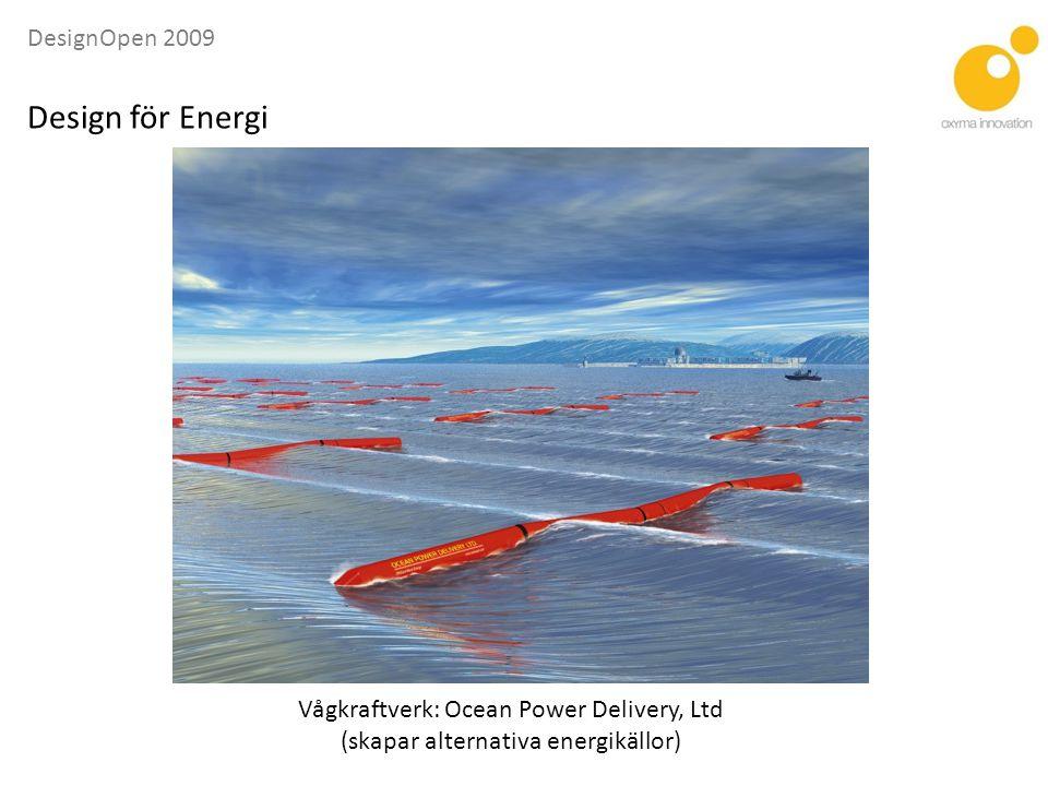 DesignOpen 2009 Design – nödvändig för fortsatt välfärd Energi – Miljö – Transport = ÖVERLEVNAD!