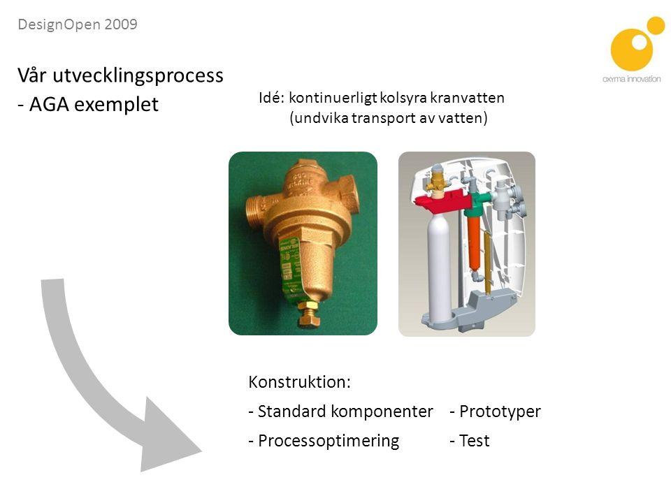 DesignOpen 2009 Konstruktion: - Standard komponenter- Prototyper - Processoptimering- Test - AGA exemplet Vår utvecklingsprocess Idé: kontinuerligt kolsyra kranvatten (undvika transport av vatten)