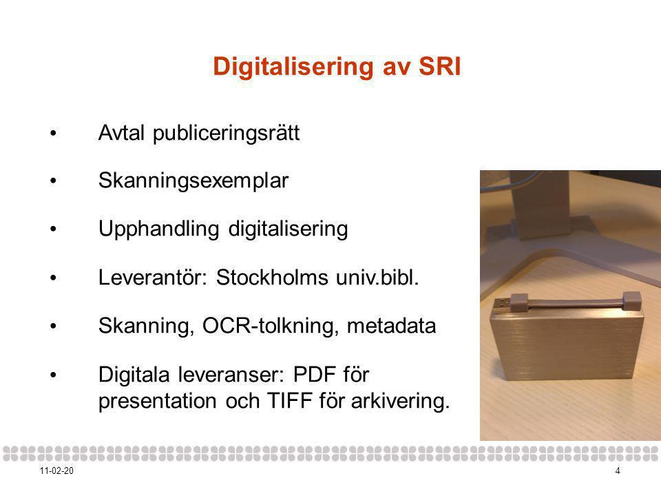 411-02-20 Digitalisering av SRI • Avtal publiceringsrätt • Skanningsexemplar • Upphandling digitalisering • Leverantör: Stockholms univ.bibl.