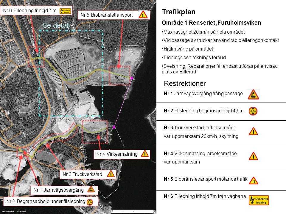 Restrektioner Nr 1 Järnvägövergång trång passage Nr 2 Flisledning begränsad höjd 4,5m Nr 3 Truckverkstad, arbetsområde var uppmärksam 20km/h, skyltning Nr 4 Virkesmätning, arbetsområde var uppmärksam Nr 5 Biobränsletransport mötande trafik Nr 6 Elledning frihöjd 7m från vägbana Nr 6 Elledning frihöjd 7 m Se detalj Trafikplan Område 1 Renseriet,Furuholmsviken •Maxhastighet 20km/h på hela området •Vid passage av truckar använd radio eller ögonkontakt •Hjälmtvång på området •Eldnings och röknings förbud •Svetsning, Reparationer får endast utföras på anvisad plats av Billerud Nr 1 Järnvägsövergång Nr 2 Begränsadhöjd under flisledning Nr 3 Truckverkstad Nr 4 Virkesmätning Nr 5 Biobränsletransport