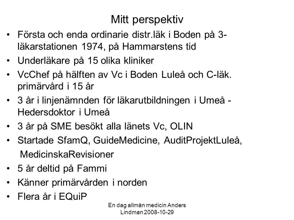 En dag allmän medicin Anders Lindman 2008-10-29 Så kan det låta.