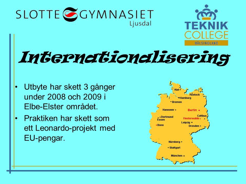 Internationalisering •Utbyte har skett 3 gånger under 2008 och 2009 i Elbe-Elster området.