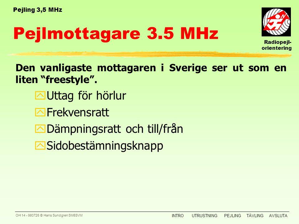 Radiopejl- orientering INTROUTRUSTNINGPEJLINGTÄVLINGAVSLUTA OH 13 - 980726 © Hans Sundgren SM5SVM Pejling Pejling med 3,5 MHz mottagare innebär 3 steg