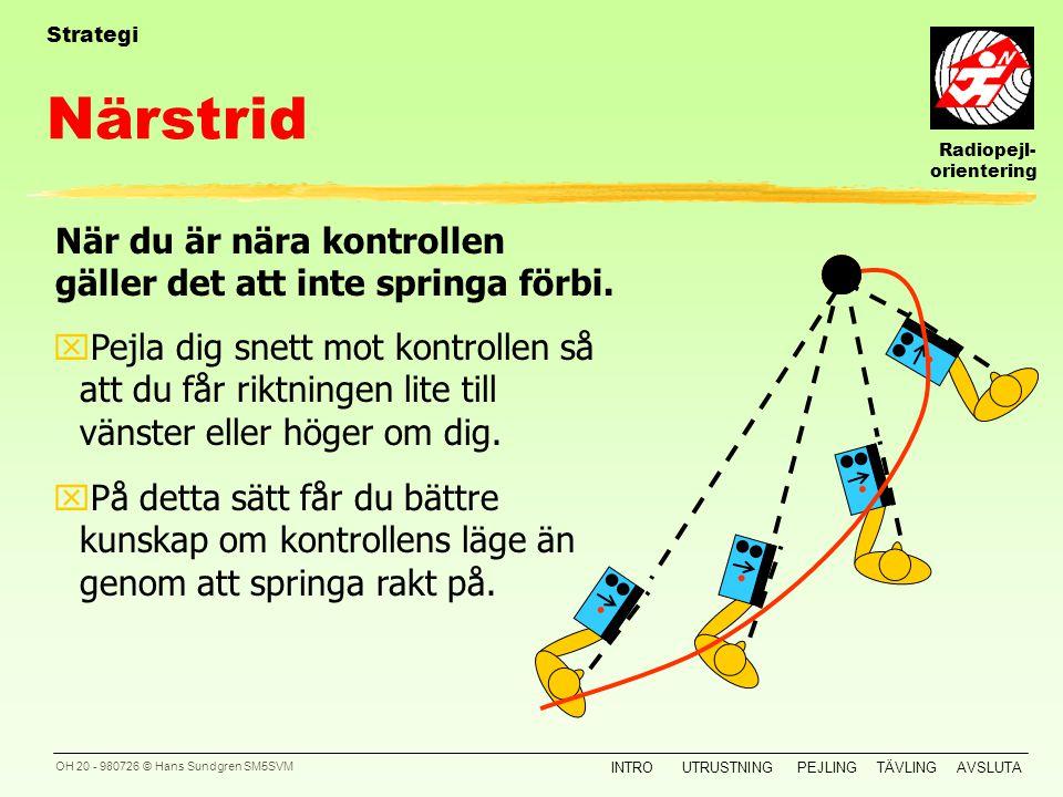 Radiopejl- orientering INTROUTRUSTNINGPEJLINGTÄVLINGAVSLUTA OH 19 - 980726 © Hans Sundgren SM5SVM Strategi Saker att tänka på: yNärstrid (finpejling)