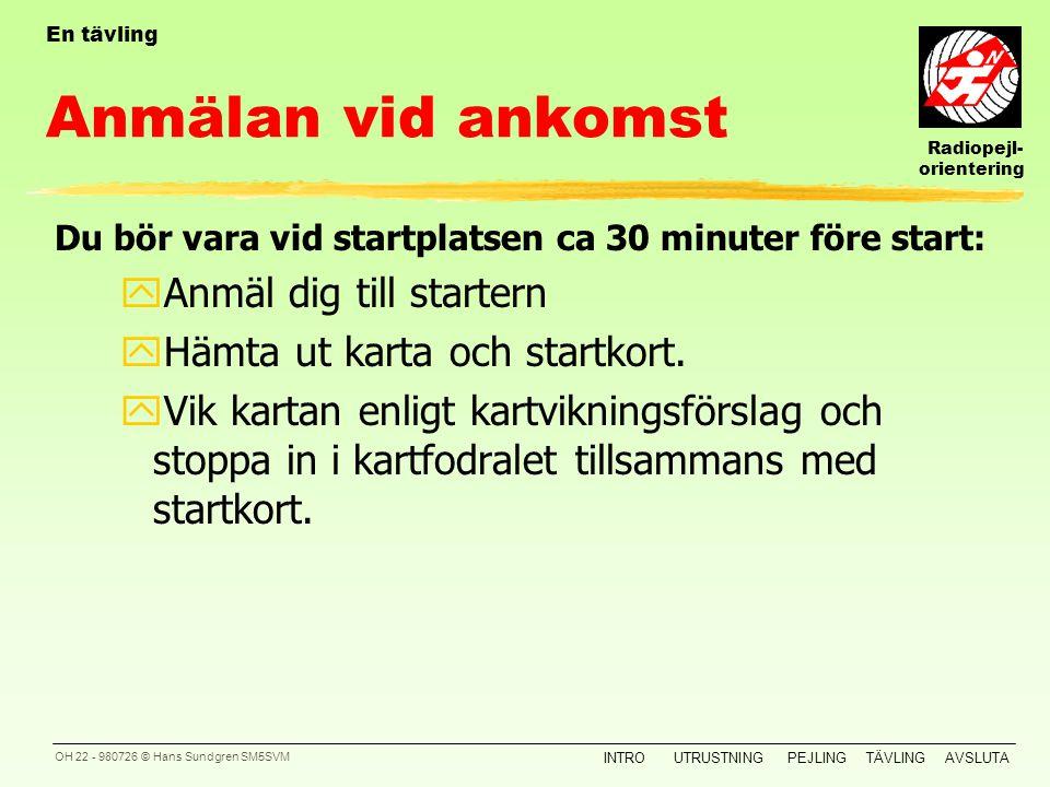 Radiopejl- orientering INTROUTRUSTNINGPEJLINGTÄVLINGAVSLUTA OH 21 - 980726 © Hans Sundgren SM5SVM En tävling En normal tävling i Sverige kan delas upp