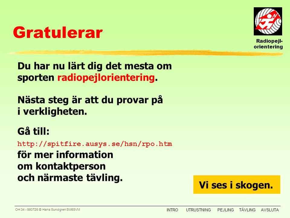 Radiopejl- orientering INTROUTRUSTNINGPEJLINGTÄVLINGAVSLUTA OH 33 - 980726 © Hans Sundgren SM5SVM 4 Kontrolltagning En tävling Xxxxxxxxx: yXxxxxxx xXx