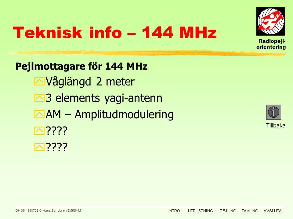 Radiopejl- orientering INTROUTRUSTNINGPEJLINGTÄVLINGAVSLUTA OH 35 - 980726 © Hans Sundgren SM5SVM Teknisk info – 3,5 MHz Tillbaka Pejlmottagare för 3,