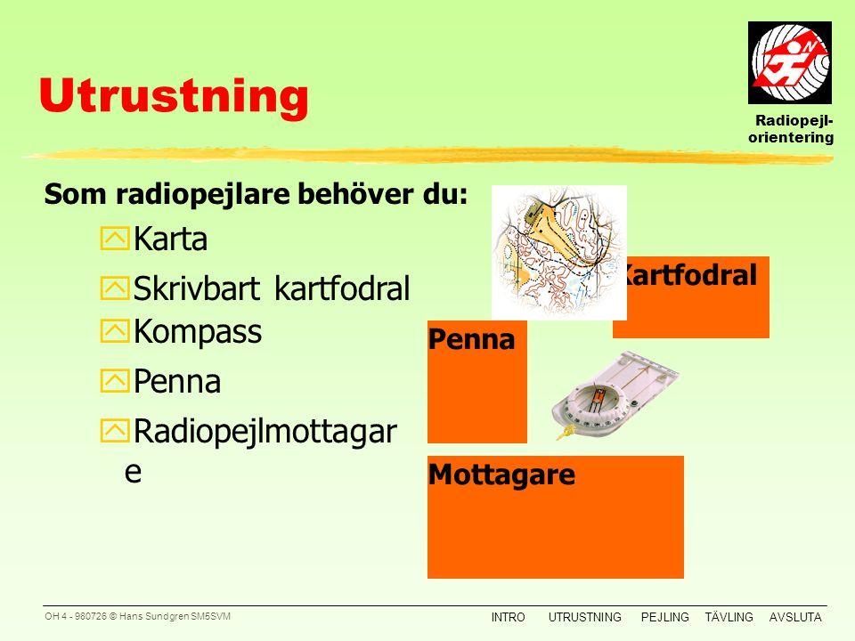 Radiopejl- orientering INTROUTRUSTNINGPEJLINGTÄVLINGAVSLUTA OH 3 - 980726 © Hans Sundgren SM5SVM Översikt Xxxx yXxxxxx Introduktion