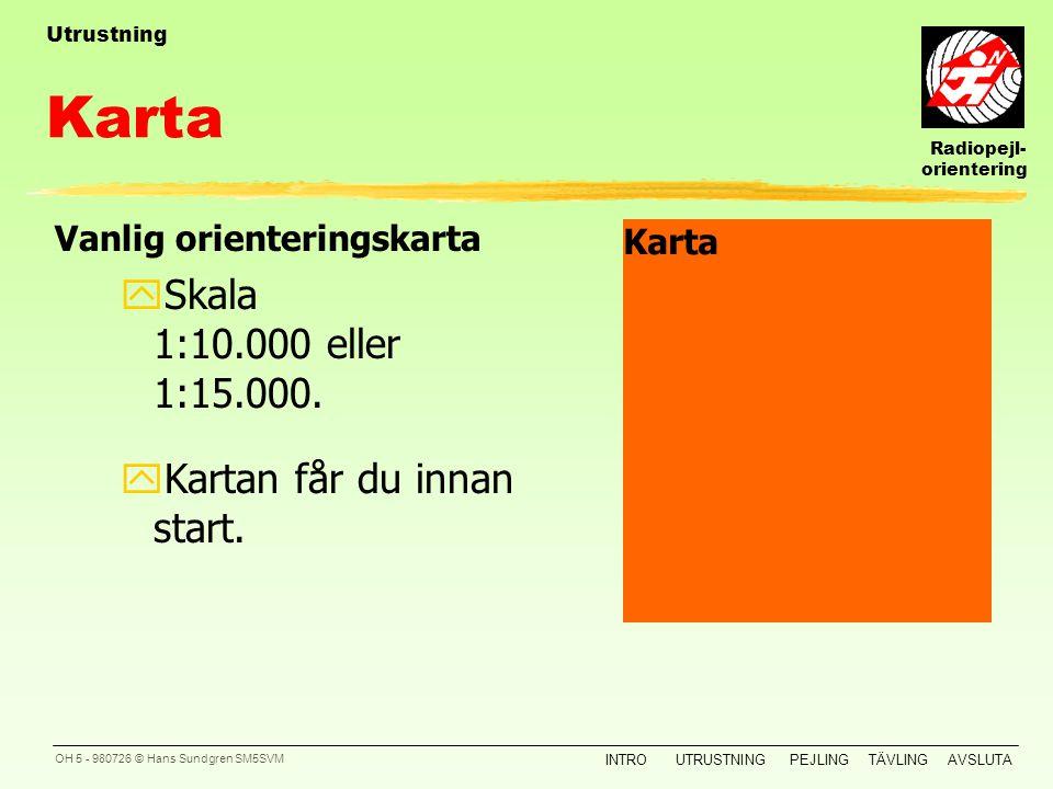 Radiopejl- orientering INTROUTRUSTNINGPEJLINGTÄVLINGAVSLUTA OH 4 - 980726 © Hans Sundgren SM5SVM yKompass Mottagare yRadiopejlmottagar e Kartfodral yS