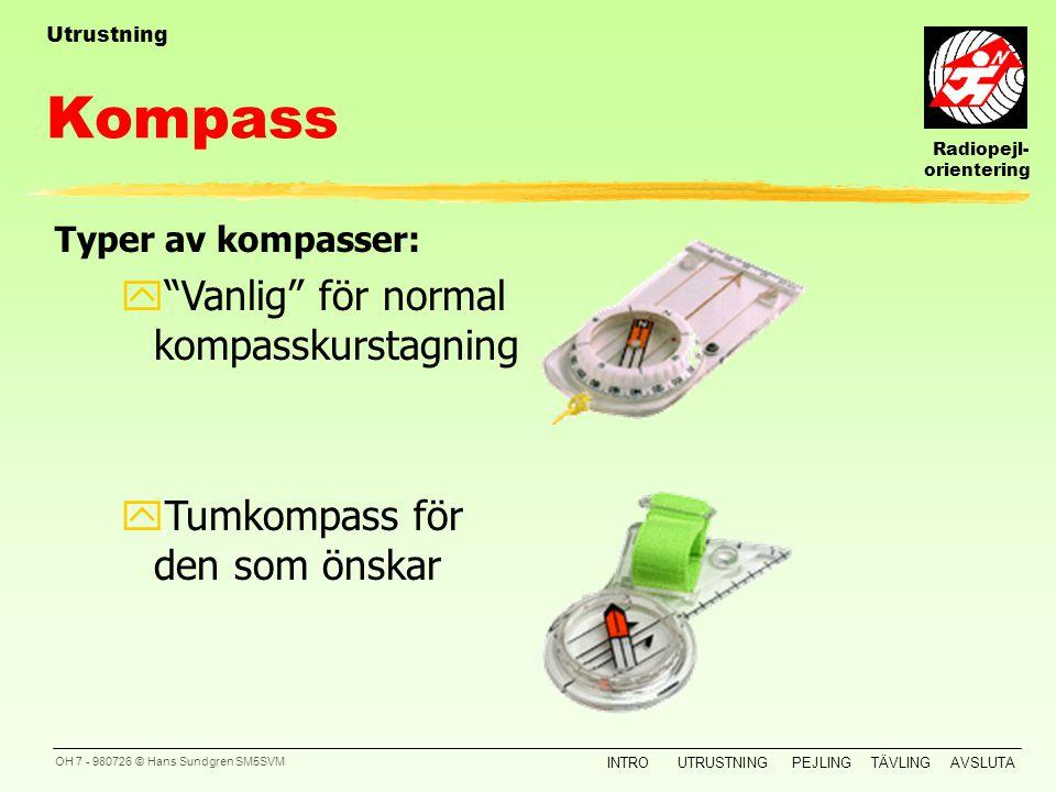 Radiopejl- orientering INTROUTRUSTNINGPEJLINGTÄVLINGAVSLUTA OH 6 - 980726 © Hans Sundgren SM5SVM Kartfodral Utrustning ySka vara skrivbart Krav på kar