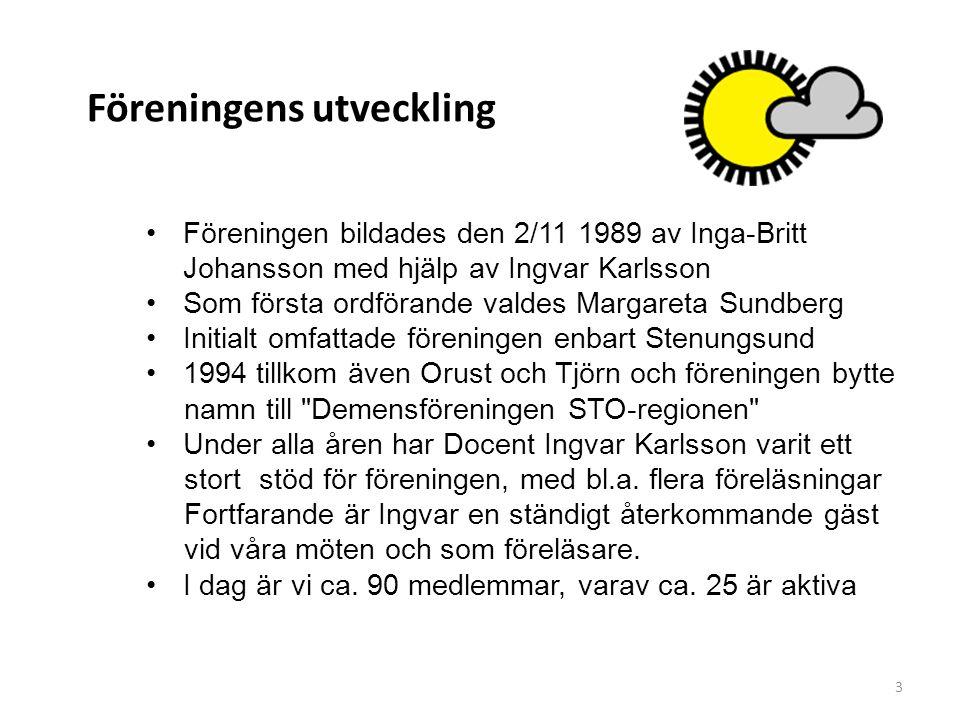 Föreningens utveckling •Föreningen bildades den 2/11 1989 av Inga-Britt Johansson med hjälp av Ingvar Karlsson •Som första ordförande valdes Margareta