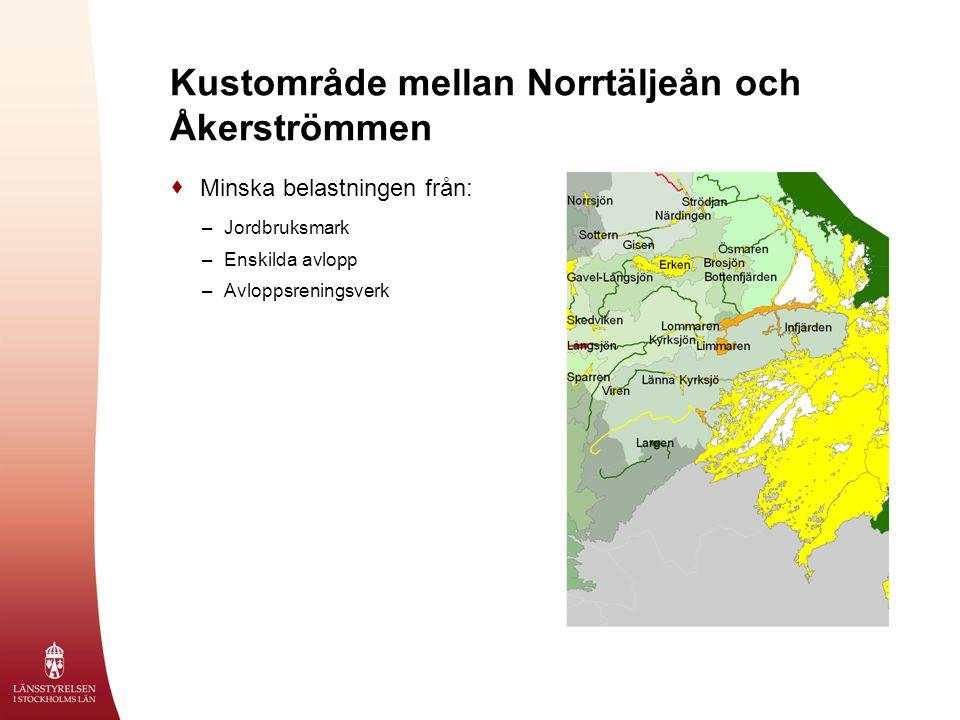 Kustområde mellan Norrtäljeån och Åkerströmmen  Minska belastningen från: –Jordbruksmark –Enskilda avlopp –Avloppsreningsverk