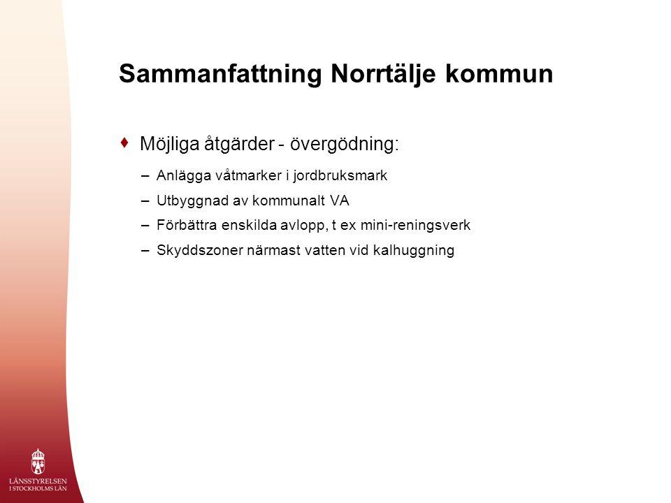 Sammanfattning Norrtälje kommun  Möjliga åtgärder - övergödning: –Anlägga våtmarker i jordbruksmark –Utbyggnad av kommunalt VA –Förbättra enskilda avlopp, t ex mini-reningsverk –Skyddszoner närmast vatten vid kalhuggning