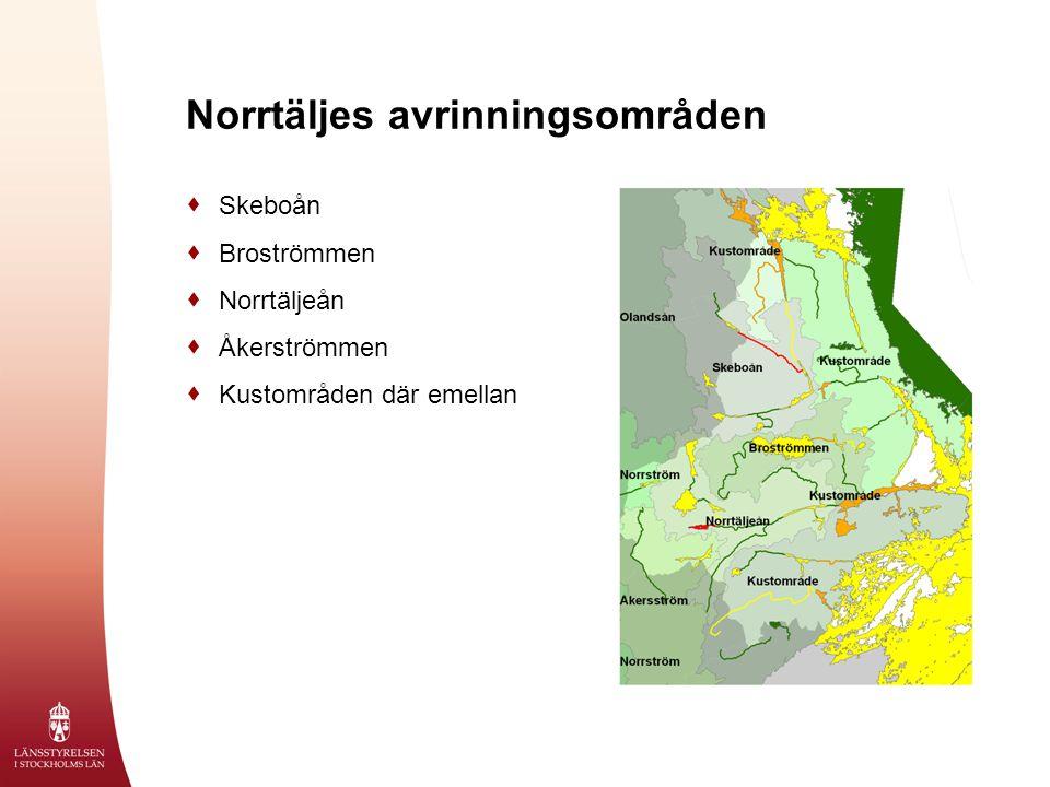 Norrtäljes avrinningsområden  Skeboån  Broströmmen  Norrtäljeån  Åkerströmmen  Kustområden där emellan