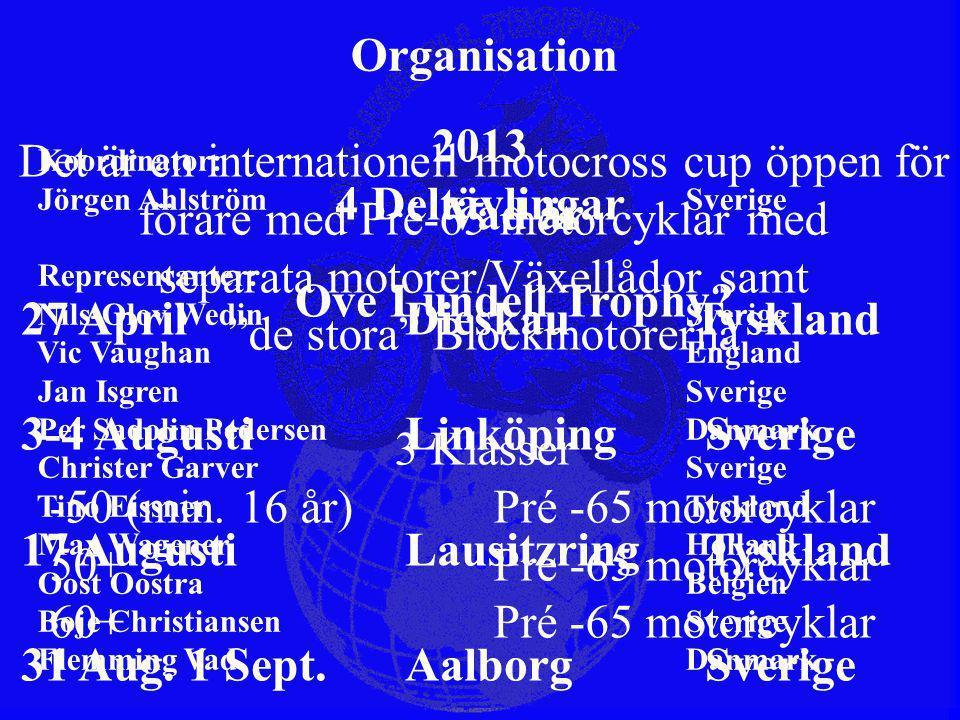 Vad är Ove Lundell Trophy? Organisation Koordinator: Jörgen Ahlström Sverige Representanter: Nils-Olov Wedin Sverige Vic Vaughan England Jan Isgren Sv