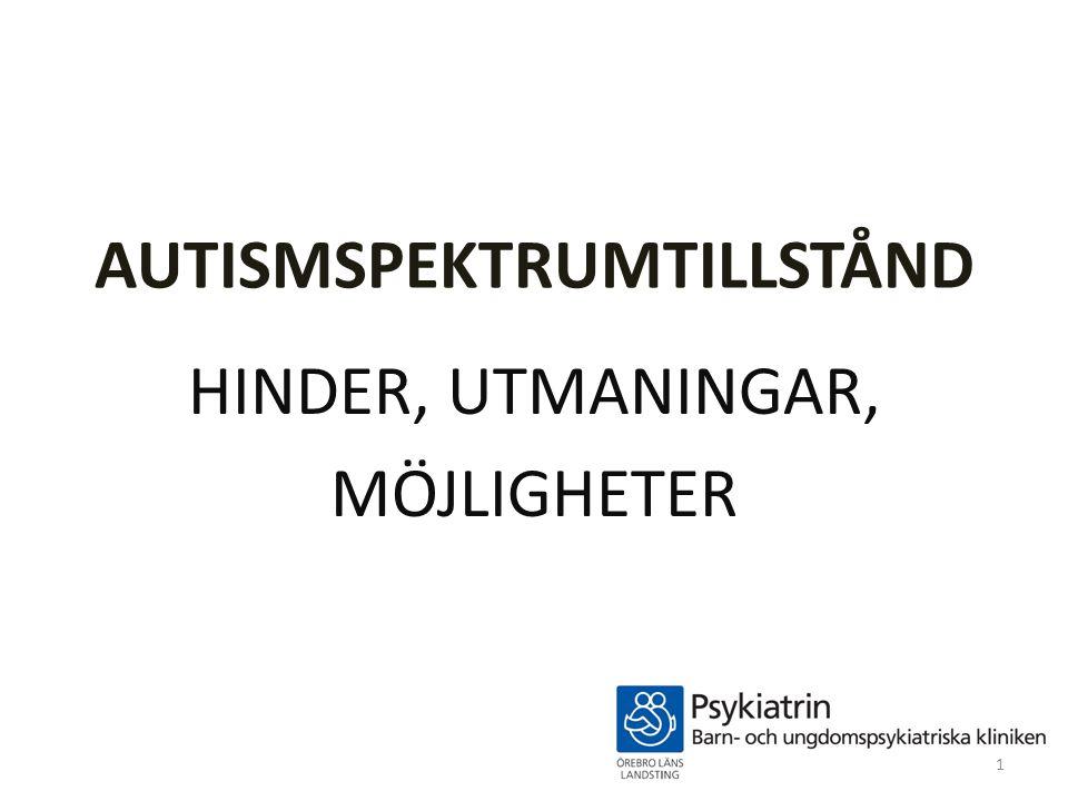 AUTISMSPEKTRUMTILLSTÅND HINDER, UTMANINGAR, MÖJLIGHETER 1