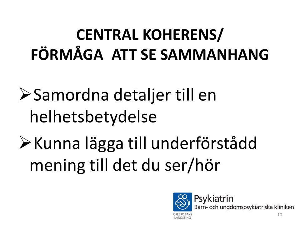 CENTRAL KOHERENS/ FÖRMÅGA ATT SE SAMMANHANG  Samordna detaljer till en helhetsbetydelse  Kunna lägga till underförstådd mening till det du ser/hör 1