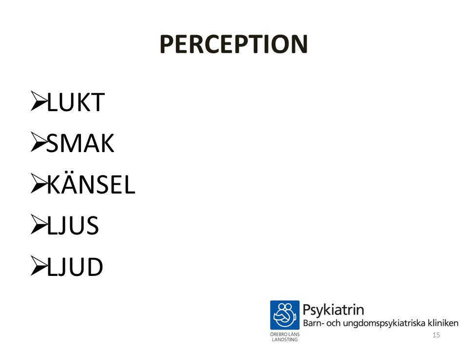 PERCEPTION  LUKT  SMAK  KÄNSEL  LJUS  LJUD 15
