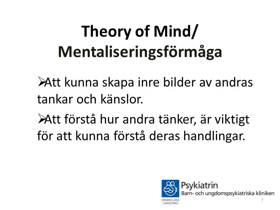 Theory of Mind/ Mentaliseringsförmåga  Att kunna skapa inre bilder av andras tankar och känslor.  Att förstå hur andra tänker, är viktigt för att ku
