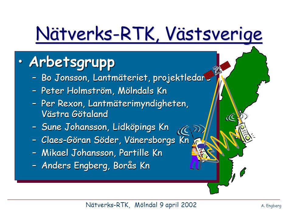 Nätverks-RTK, Västsverige •Bakgrund, februari 2001 Info från Lantmäteriet och Onsala Rymdobservatorium: –projekt Mälardalen –projekt Skåne –Västsverige, på gång.