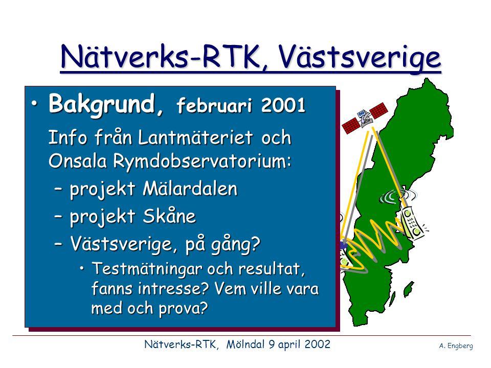 Nätverks-RTK, Västsverige •Som det ser ut i dagsläget verkar projekt Nätverks- RTK Västsverige kunna starta i september 2002 Nätverks-RTK, Mölndal 9 april 2002 A.