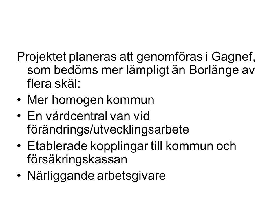 Projektet planeras att genomföras i Gagnef, som bedöms mer lämpligt än Borlänge av flera skäl: •Mer homogen kommun •En vårdcentral van vid förändrings