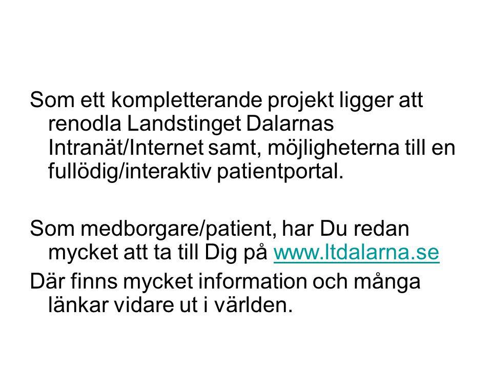 Som ett kompletterande projekt ligger att renodla Landstinget Dalarnas Intranät/Internet samt, möjligheterna till en fullödig/interaktiv patientportal