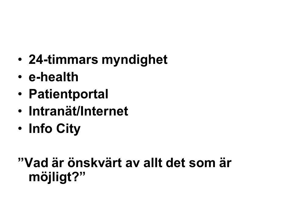 """•24-timmars myndighet •e-health •Patientportal •Intranät/Internet •Info City """"Vad är önskvärt av allt det som är möjligt?"""""""