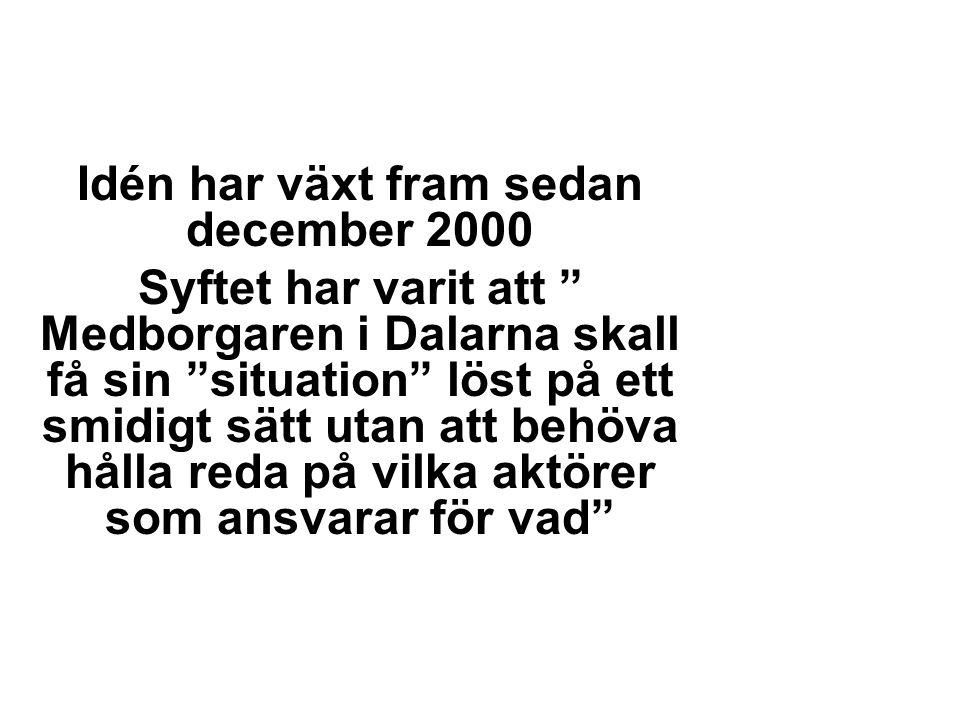 Idén har växt fram sedan december 2000 Syftet har varit att Medborgaren i Dalarna skall få sin situation löst på ett smidigt sätt utan att behöva hålla reda på vilka aktörer som ansvarar för vad