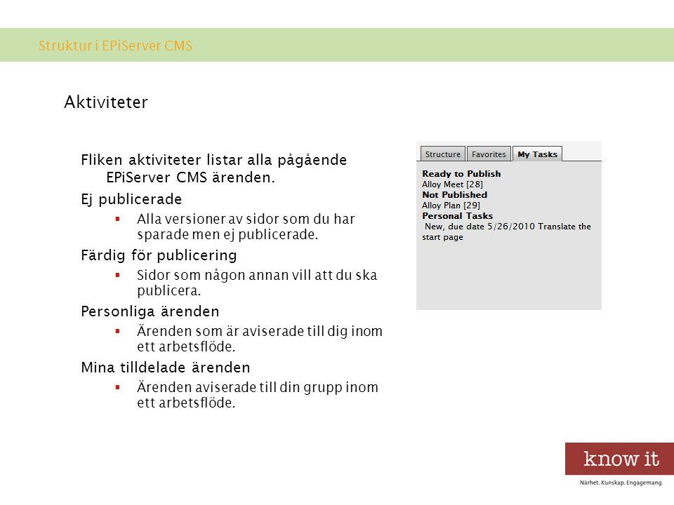 Aktiviteter Fliken aktiviteter listar alla pågående EPiServer CMS ärenden.