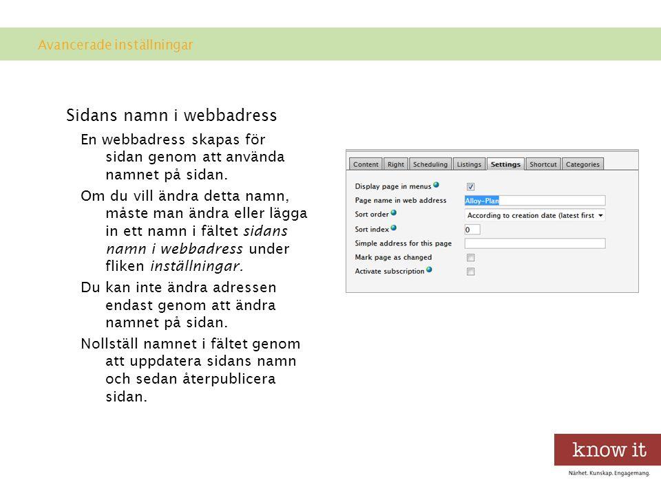 Sidans namn i webbadress En webbadress skapas för sidan genom att använda namnet på sidan.