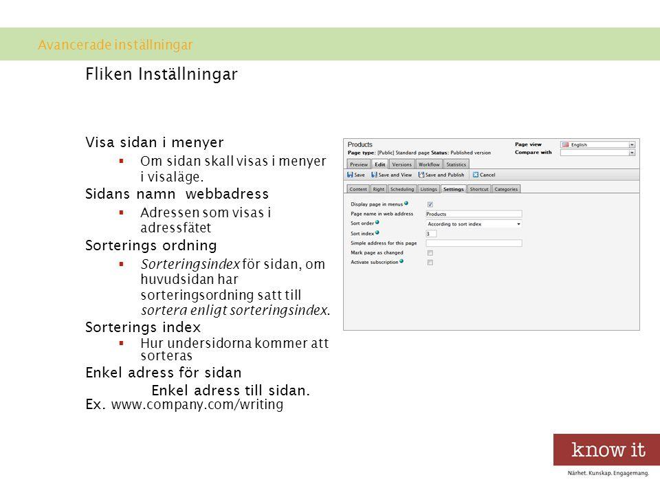 Fliken Inställningar Visa sidan i menyer  Om sidan skall visas i menyer i visaläge.