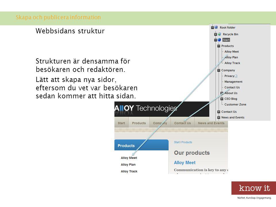 Webbsidans struktur Strukturen är densamma för besökaren och redaktören.