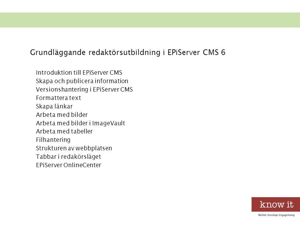 Introduktion till EPiServer CMS