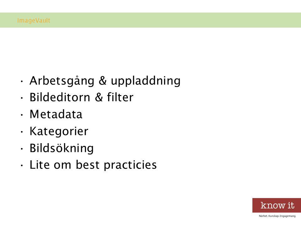 Agenda •Arbetsgång & uppladdning •Bildeditorn & filter •Metadata •Kategorier •Bildsökning •Lite om best practicies ImageVault