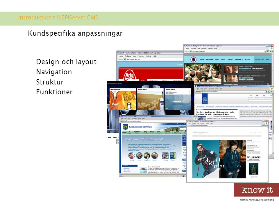 Kundspecifika anpassningar Design och layout Navigation Struktur Funktioner Introduktion till EPiServer CMS