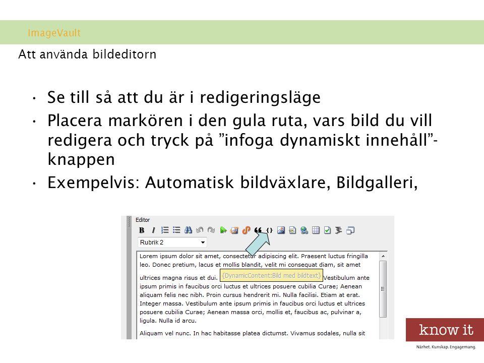 Att använda bildeditorn •Se till så att du är i redigeringsläge •Placera markören i den gula ruta, vars bild du vill redigera och tryck på infoga dynamiskt innehåll - knappen •Exempelvis: Automatisk bildväxlare, Bildgalleri, ImageVault