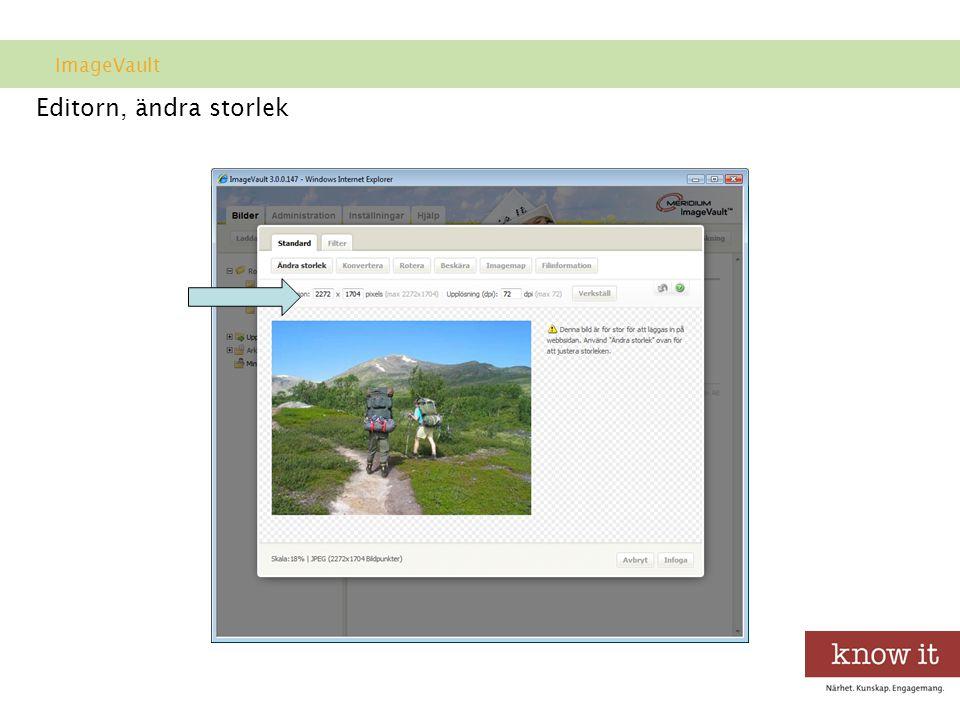 Editorn, ändra storlek ImageVault