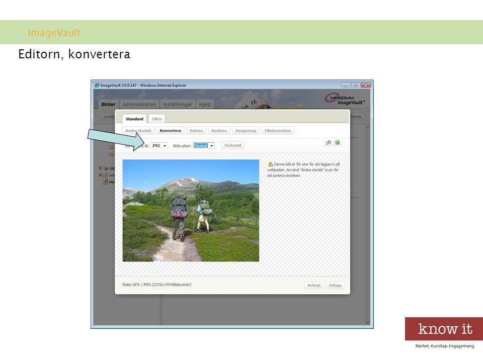 Editorn, konvertera ImageVault