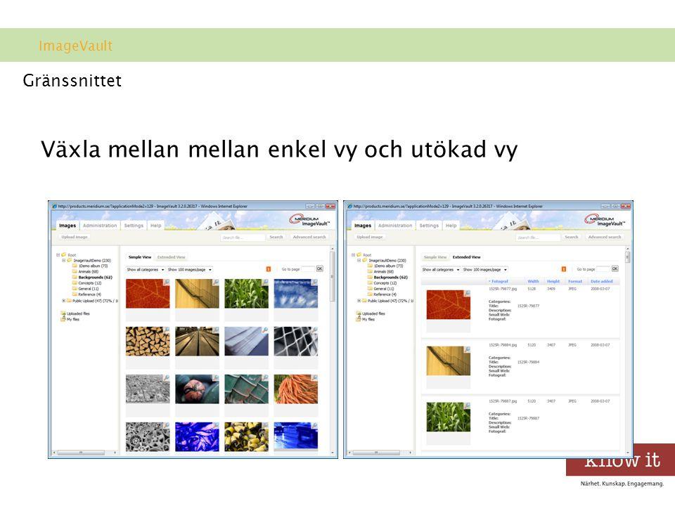 Gränssnittet Växla mellan mellan enkel vy och utökad vy ImageVault