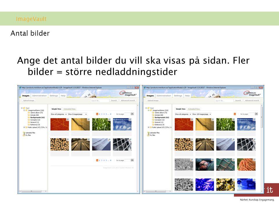 Antal bilder Ange det antal bilder du vill ska visas på sidan.