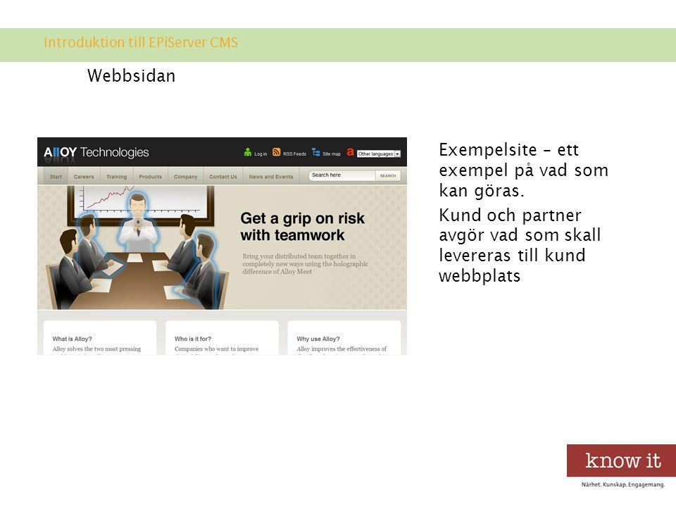 Webbsidan Exempelsite – ett exempel på vad som kan göras.