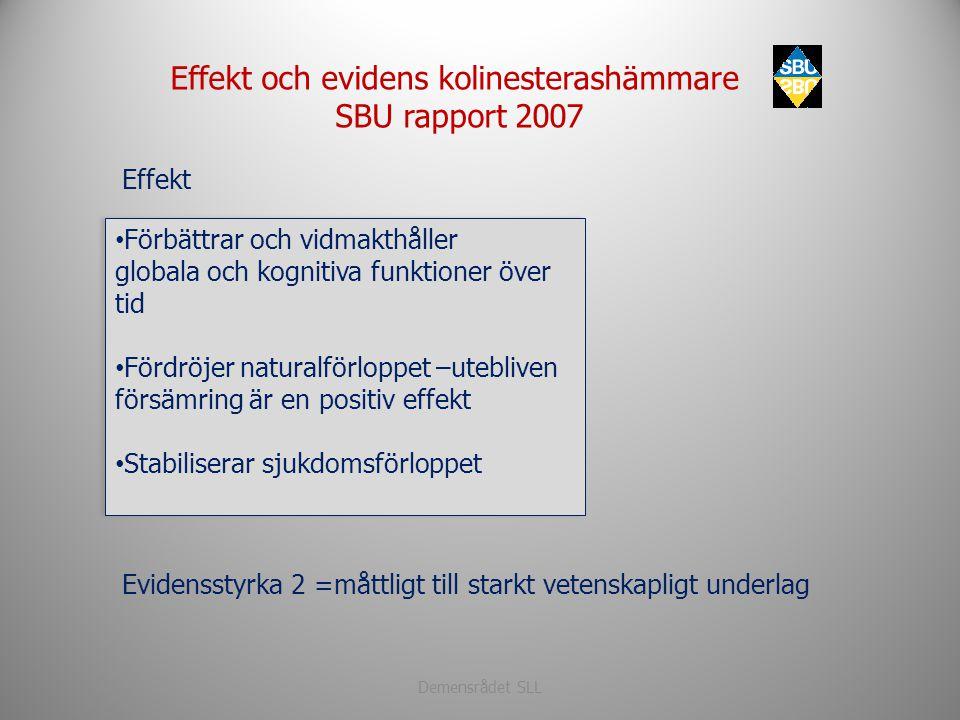 Demensrådet SLL Evidensstyrka 2 =måttligt till starkt vetenskapligt underlag • Förbättrar och vidmakthåller globala och kognitiva funktioner över tid