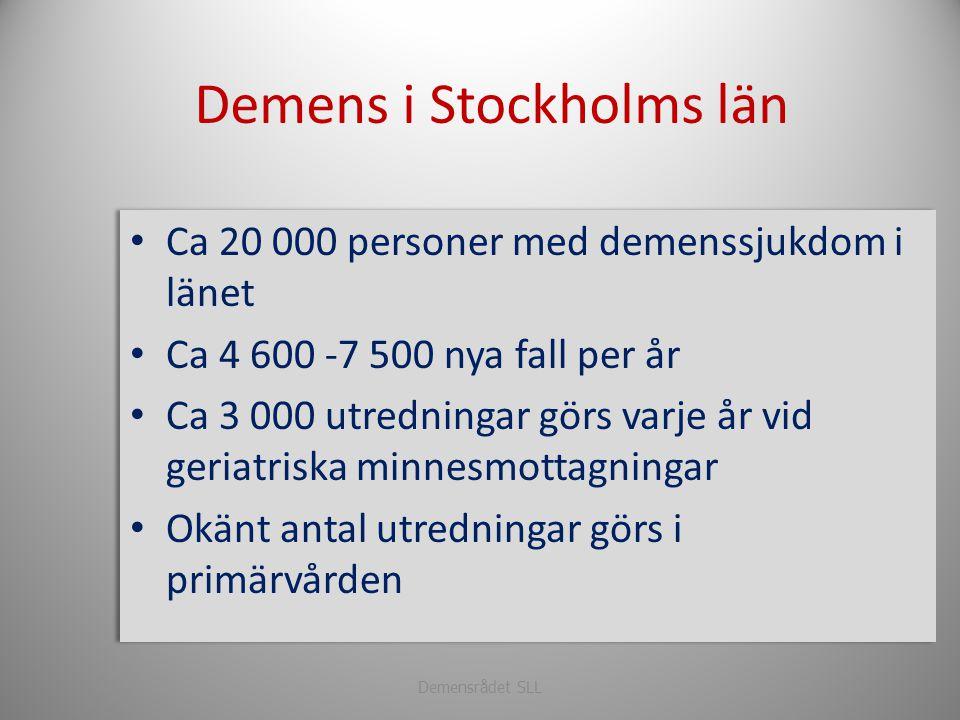 Demensrådet SLL Demens i Stockholms län • Ca 20 000 personer med demenssjukdom i länet • Ca 4 600 -7 500 nya fall per år • Ca 3 000 utredningar görs v